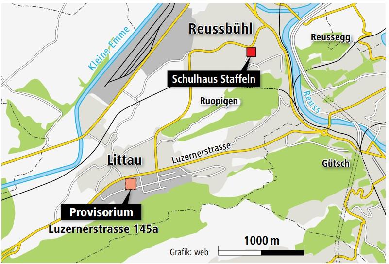 Übersichtskarte Schulweg - Quelle: www.luzernerzeitung.ch