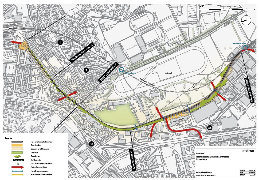 Zentralbahntrassee Radweg Plan