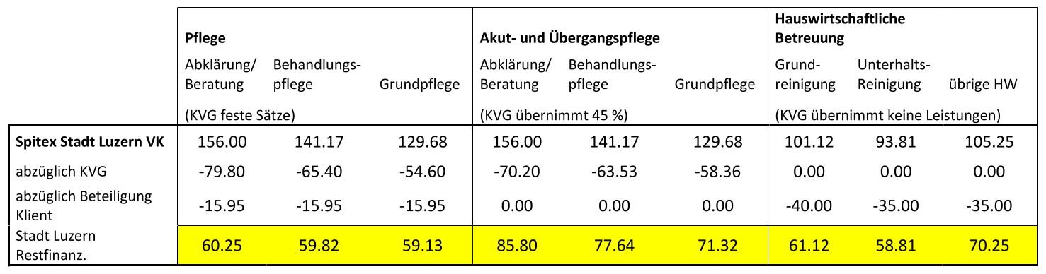 Restkosten Spitex Stadt Luzern